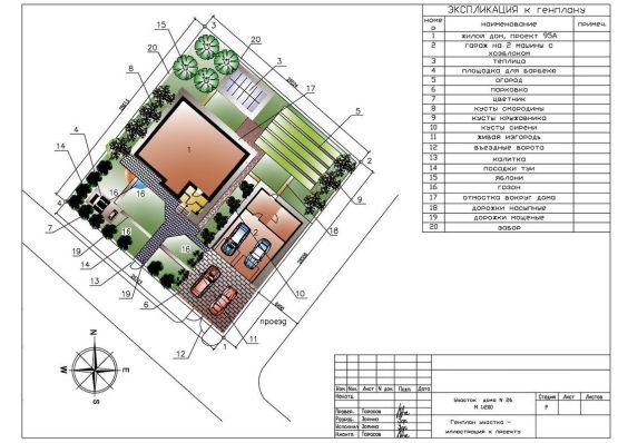 Генеральный план (схема привязки дома на участок)