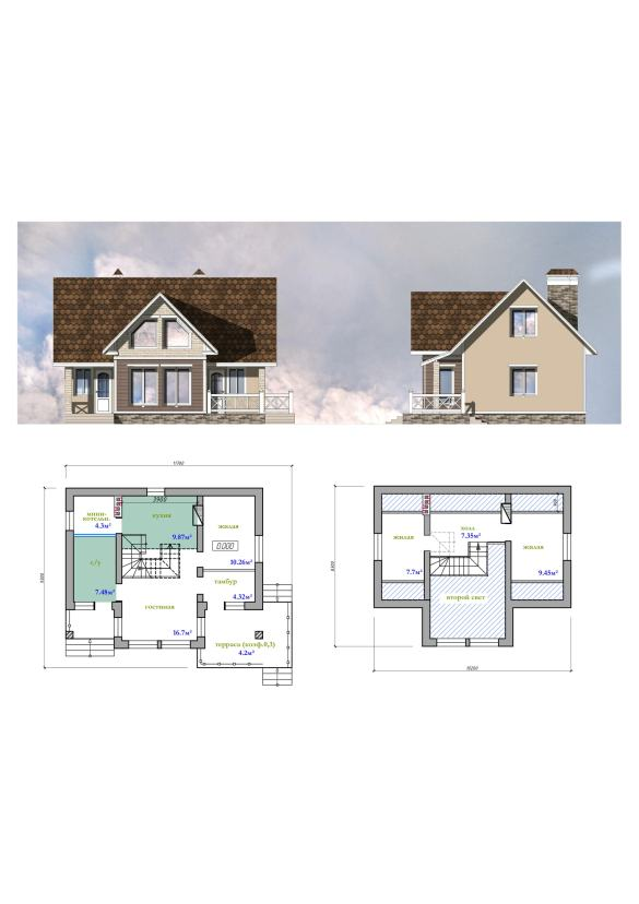 План дома в 2 этажа